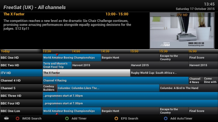 EPG using default ViX Night HD Skin