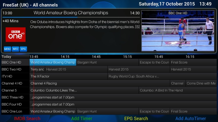 EPG using ViXBMC 1080 Confluence Skin